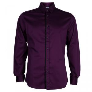 Just Cavalli Men's Purple Cotton Shirt L