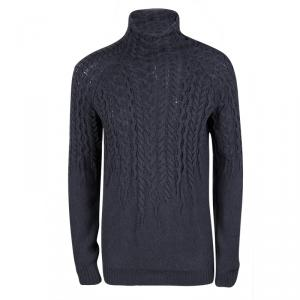 Just Cavalli Grey Wool Chunky Cable Knit Sweater M