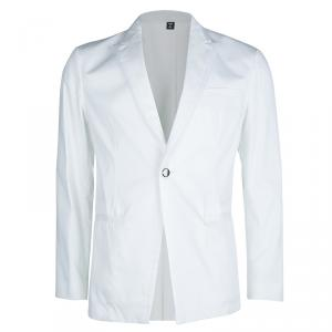 Just Cavalli White Cotton Tailored Notched Collar Blazer L