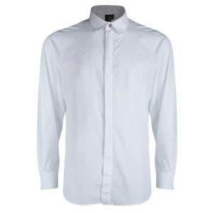 Just Cavalli White Cotton Jacquard Long Sleeve Button Front Shirt XXXL