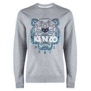 Kenzo Grey Cotton Knit Embroidered Tiger Motif Sweatshirt XL