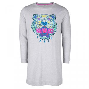 Kenzo Grey Tiger Embroidered Motif Sweatshirt XL