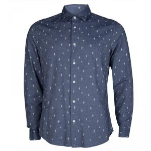 Kenzo Men's Indigo Chambray Cactus Print Long Sleeve Buttondown Slim Fit Shirt L