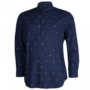 Kenzo Navy Blue Cotton Spaceship Print Long Sleeve Buttondown Slim Fit Shirt L