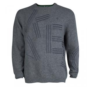 Kenzo Grey Wool Flock Printed Sweater XXL