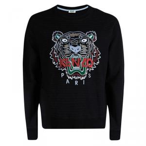 Kenzo Black Striped Knit Embroidered Tiger Motif Sweatshirt XXL