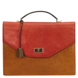 Lancel Bi Color Lizard Embossed Leather Attache Briefcase