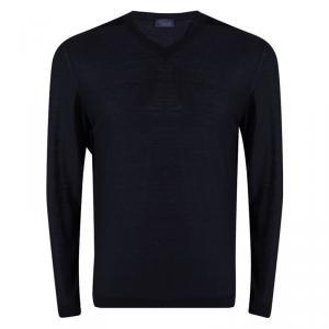 Lanvin Navy Blue Merinos Wool V-Neck Sweater L