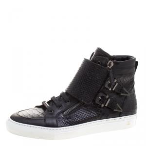 Le Silla Black Python Embossed Leather High Top Sneakers Size 41.5