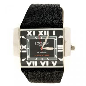 ساعة يد رجالية لوكمان أوتو N.00613 جلد سمك القرش سوداء إصدار محدود 51مم