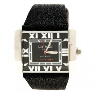Locman Black Limited Edition Otto N.00613 Sharkskin Men's Wristwatch 51MM