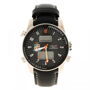 Locman Black Limited Edition Aeronautica Leather Men's Wristwatch 44MM