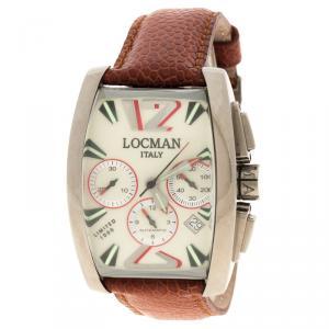 Locman Cream Panorama N.00299 Ostrich Leather Men's Wristwatch 37MM