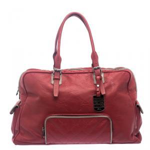 Longchamp Red Embossed Leather Travel Satchel