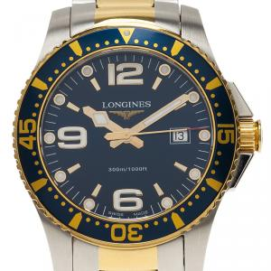 Longines Blue Stainless Steel Hydroconquest Men's Wristwatch 39MM