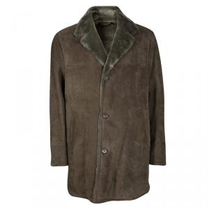 Loro Piana Brown Shearling Lined Suede Coat XXL