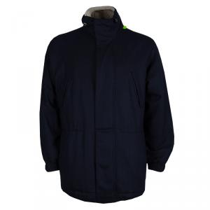 Loro Piana Navy Blue Herringbone Cashmere Winter Sports Jacket L