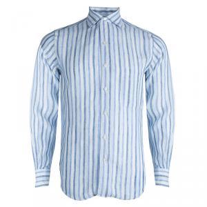 Loro Piana Blue Striped Linen Long Sleeve Button Front Shirt S