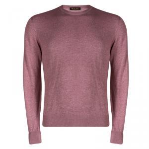 Loro Piana Pastel Pink Silk Knit Crewneck Sweater S