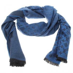 Louis Vuitton Blue Monogrammed Wool Persuasion Stole