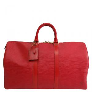 Louis Vuitton Red Epi Leather Keepall 45 Tote Bag