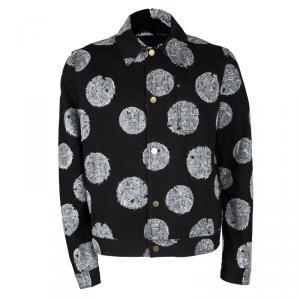 Louis Vuitton FA'15 Black Cotton Rope Print Button Front Jacket  XL
