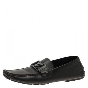 Louis Vuitton Black Leather Monte Carlo Loafers Size 42.5