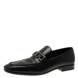 Louis Vuitton Black Leather Logo Loafers Size 42