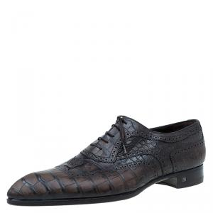 Louis Vuitton Two Tone Alligator Leather Brogue Derby Size 45