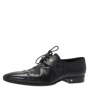 Louis Vuitton Black Damier Embossed Leather Lace Up Oxfords Size 43