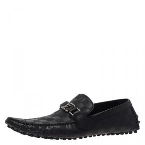 Louis Vuitton Black Damier Embossed Leather Hockeheim Loafers Size 44