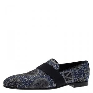 Louis Vuitton Blue Hot Air Balloon Embroidered Loafers Size 43