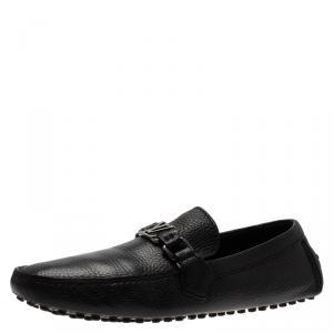 Louis Vuitton Black Grain Leather Driver Loafers Size 41.5