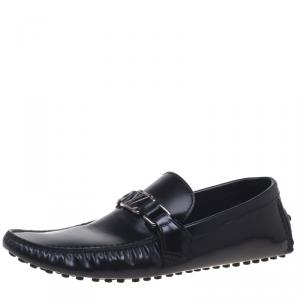 Louis Vuitton Black Leather Driver Loafers Size 42.5