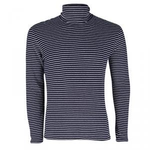 Maison Martin Margiela Navy Blue and White Striped Knit Turtle Neck T-Shirt M