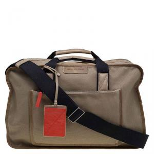 Marc by Marc Jacobs Light Brown Canvas Trimmed Leather Duffel Bag