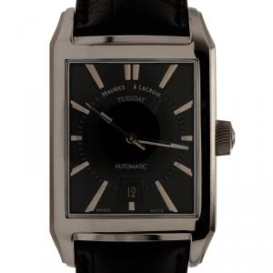 Maurice Lacroix Black Stainless Steel Pontos Rectangulaire Day Date Men's Wristwatch 32MM