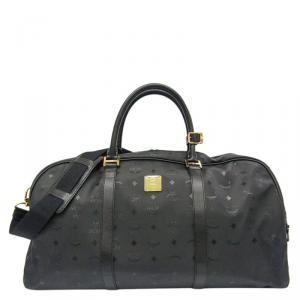 MCM Black Visetos PVC Duffle Bag