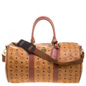 MCM Cognac Visetos Coated Canvas Stark Weekender Duffel Bag