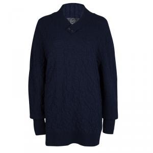McQ By Alexander McQueen Navy Blue Textured Wool V-Neck Sweater XL