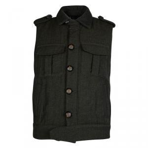McQ By Alexander McQueen Olive Green Herringbone Vest M