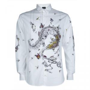 McQ By Alexander McQueen White Printed Long Sleeve Buttondown Cotton Shirt XXL