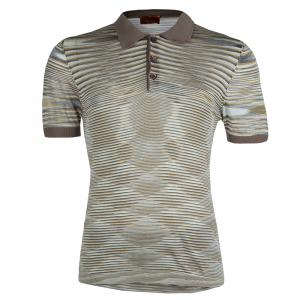 Missoni Multicolor Striped Knit Polo T-Shirt L
