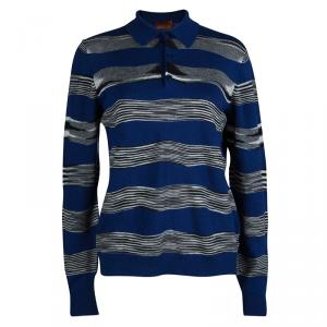 Missoni Multicolor Striped Knit Long Sleeve Polo T-Shirt M
