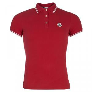 Moncler Red Logo Patch Polo T-Shirt M