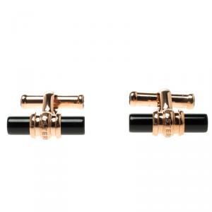 Montblanc Meisterstuck Rose Gold-Tone PVD Onyx Cufflinks