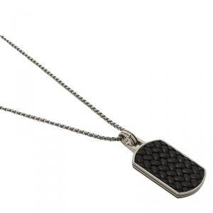 Montblanc Men's Monograin Leather Inlay Steel Tag Pendant Chain Necklace