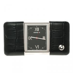 Montblanc Profile Sliding Black Dial Leather Case Travel Timepiece