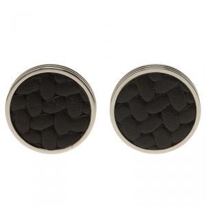 Montblanc Monograin Black Leather Inlay Steel Cufflinks