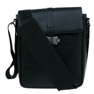 Montblanc Black Leather Westhide North South Messenger Bag